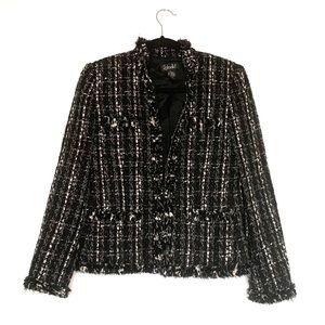 RAFAELLA Wool Blend Tweed Frayed Blazer Jacket